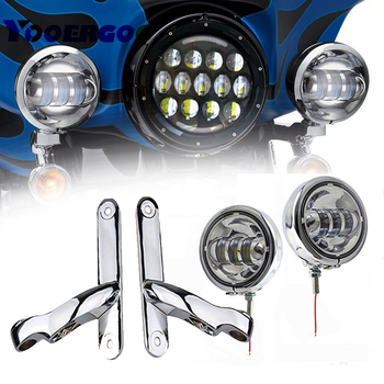"4.5"" Black Led Passing Fog Lights With 4.5 inch Housing Bucket and Mounting Brackets Fory Street Glide"