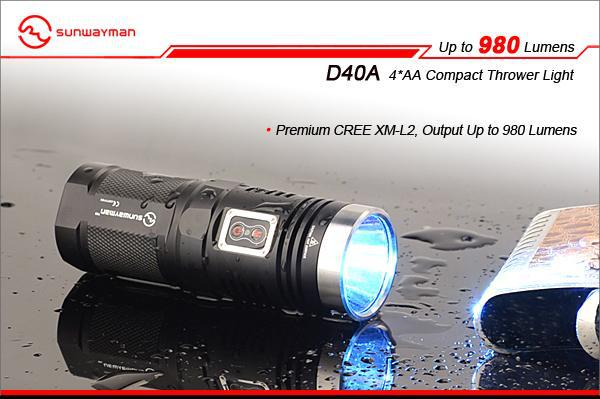 Free Shipping sunwayman D40A CREE XM-L2 LED 4*AA Compact Thrower Light 980 Lumens flashlight Waterproof Rescue Search Torch 3800 lumens cree xm l t6 5 modes led tactical flashlight torch waterproof lamp torch hunting flash light lantern for camping z93