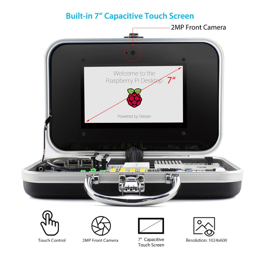 Image 3 - Free Shipping Crowpi Educational Learning Kit 7  HD Touchscreen Display Compact Raspberry Pi 4B/3B+ Mini Computer Programming-in LCD Modules from Electronic Components & Supplies