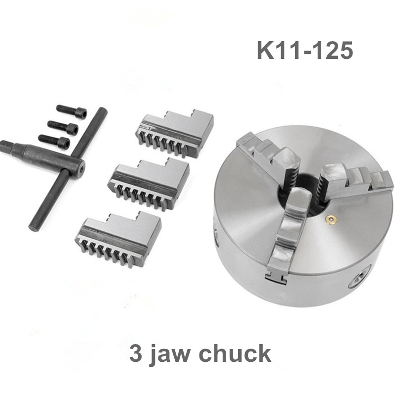 3 Jaw 5 Self-Centering Lathe Chuck K11-125 K11 125 Hardened Steel for Drilling Milling Machine Wrench and Screws