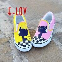 Men Women Boy Fashion Casual Canvas fox Cats Animal White Cartoon Hand Painted Shoes Graffiti Lazy Shoelace Footwear