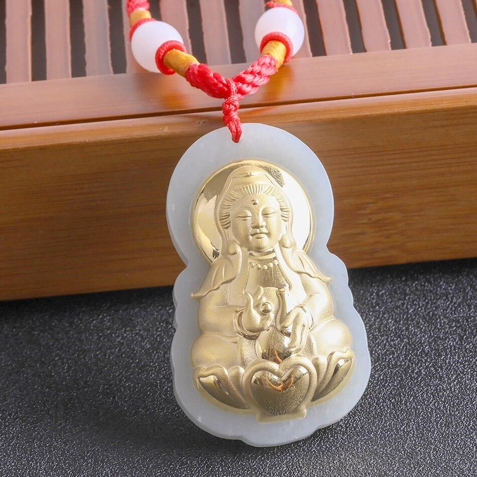 Gold Medallion Pendant Jade Buddha Pendant Hetian Jade Zodiac Eight Guardian Goddess Necklace Guanyin Chinese Style 8629 Gift