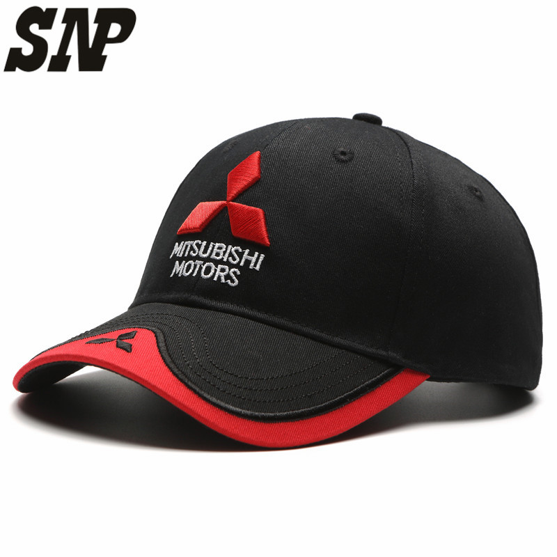 59e69cf7 mitsubisi summer baseball caps 3D embroidered Mitsubishi hat cap car logo racing  baseball cap hat adjustable