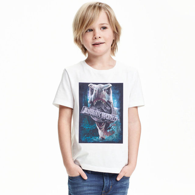 New Jurassic World Boys T Shirt Kid Short Sleeve Jurassic Park T-shirt Children Summer Clothing Dinosaur Tees White T-shirt  Kid