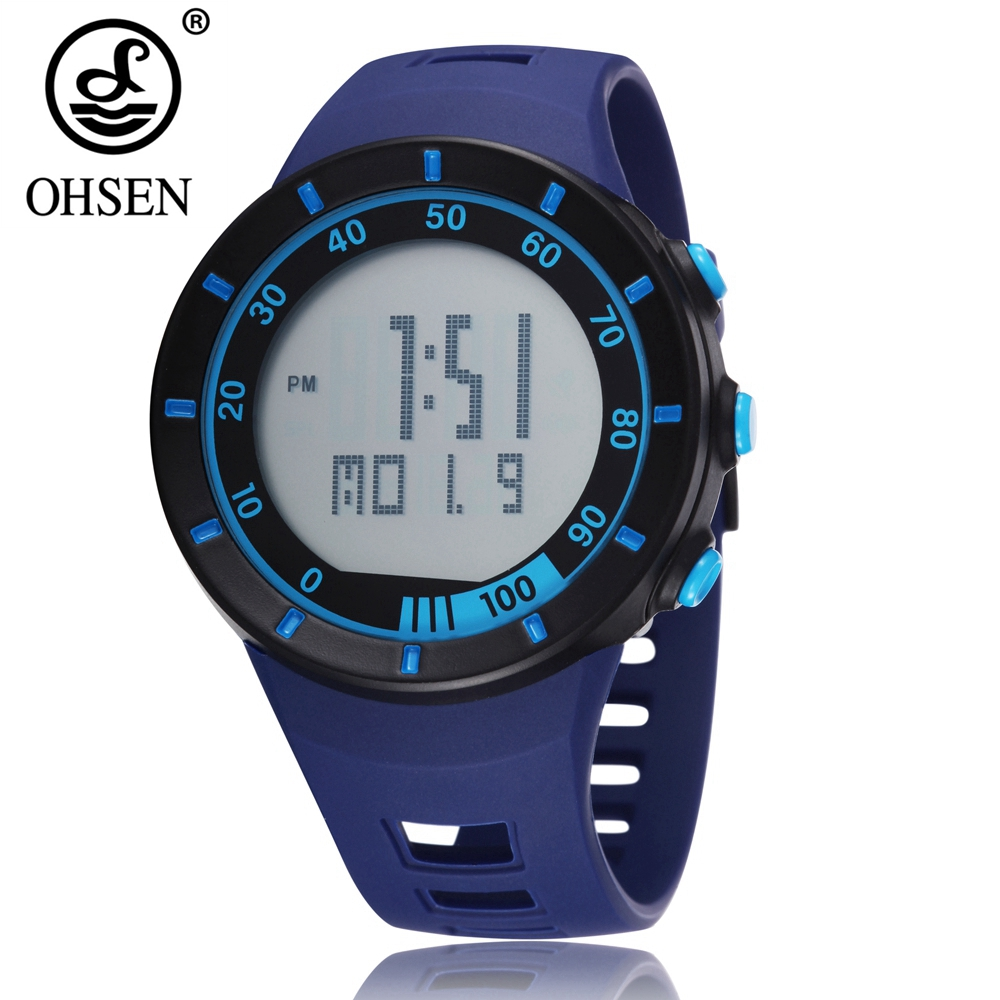 OHSEN Digital LED outdoor Sports Watches men women Stopwatch 50M diving Blue fashion silicone Unisex military watch reloj hombre