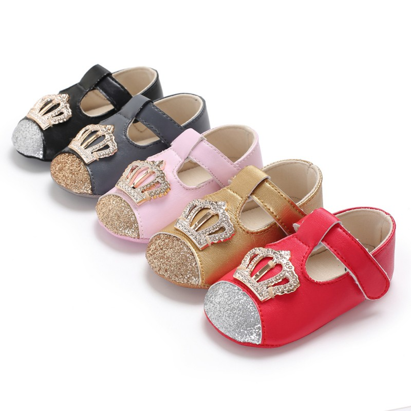 Baby Spring Autumn PU Newborn Baby Girl Princess Shoes PU Crown Bling Fashion Princess Shoes First Walker