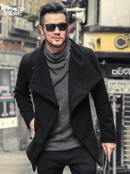 Для мужчин осень-зима дизайн Sense резки британский стиль куртка Для мужчин шерстяные ткани тонкий черный бренд Повседневное новое пальто F8260