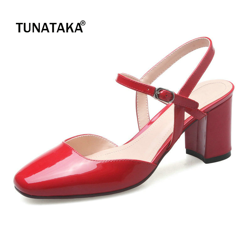 Woman Genuine Leather Comfort Square Heel Summer Woman Sandals Fashion Buckle Dress High Heel Shoes Woman Black Red Wine Red коляска esspero summer line wine red sl010a 108068266