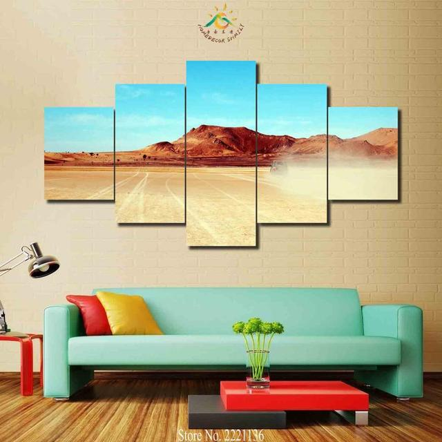 3 4 5 Pieces Desert Car Modern Wall Art Canvas Printed Painting HD ...