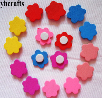 100PCS/LOT,Mix color flower star heart wood stickers Cheapest crafts for children Activity items Creative family fun Wholesale