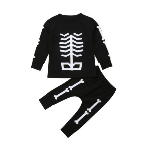 c1f473681 Newborn Infant Kid Baby Boy skeleton Hallowmas Long Sleeve Top+Pants ...