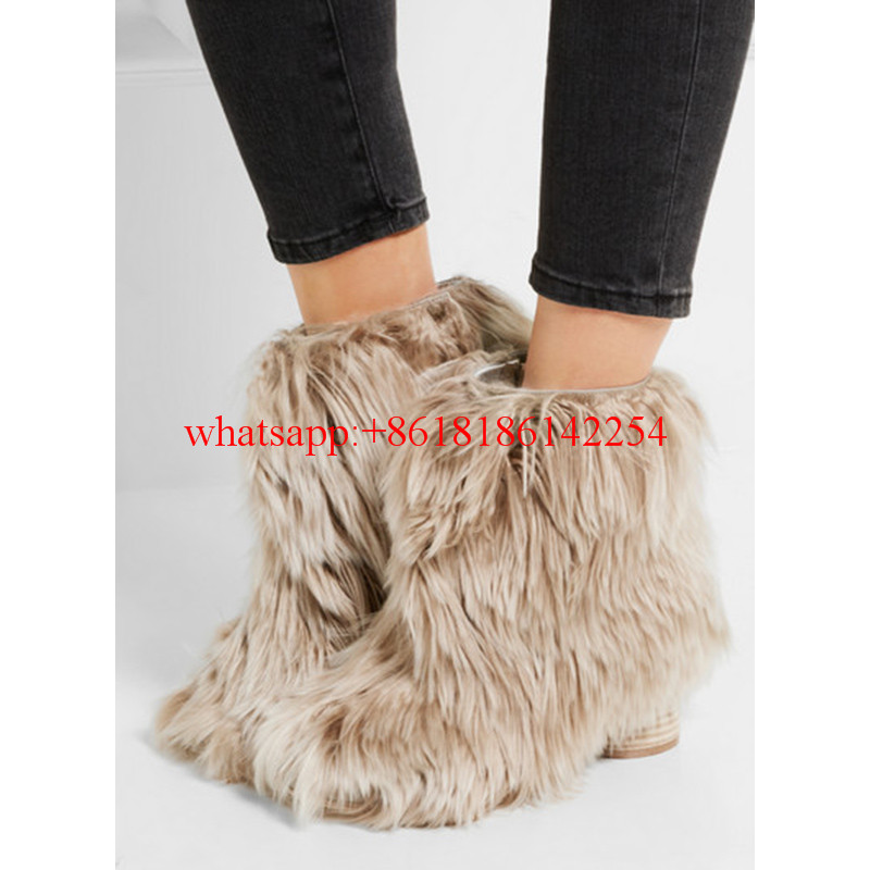 2016 Autum/Winter Sexy Ladies High-heeled Boots Female Round-toe Ankle Boots British Martin Boots Lovely Fur Boots Stivali Donna