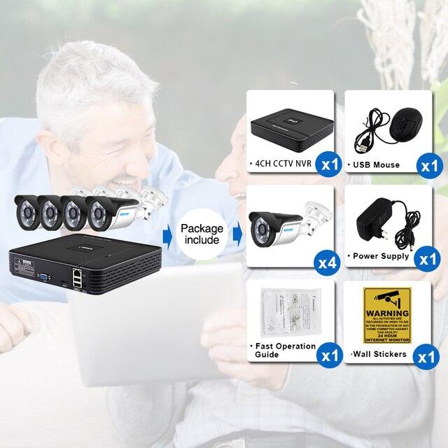 Smar 4CH CCTV System HDMI CCTV NVR 4PCS 1.0 MP/1.3MP/2.0MP IR Outdoor Security Camera 6PCS Nano Leds Camera Surveillance Kit