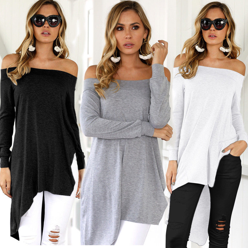 New Fashion Loose T-shirts Sexy Women Off Shoulder Tops Long Sleeve Bodycon Party Long Tunic Tops Womens Cotton Blend Tops