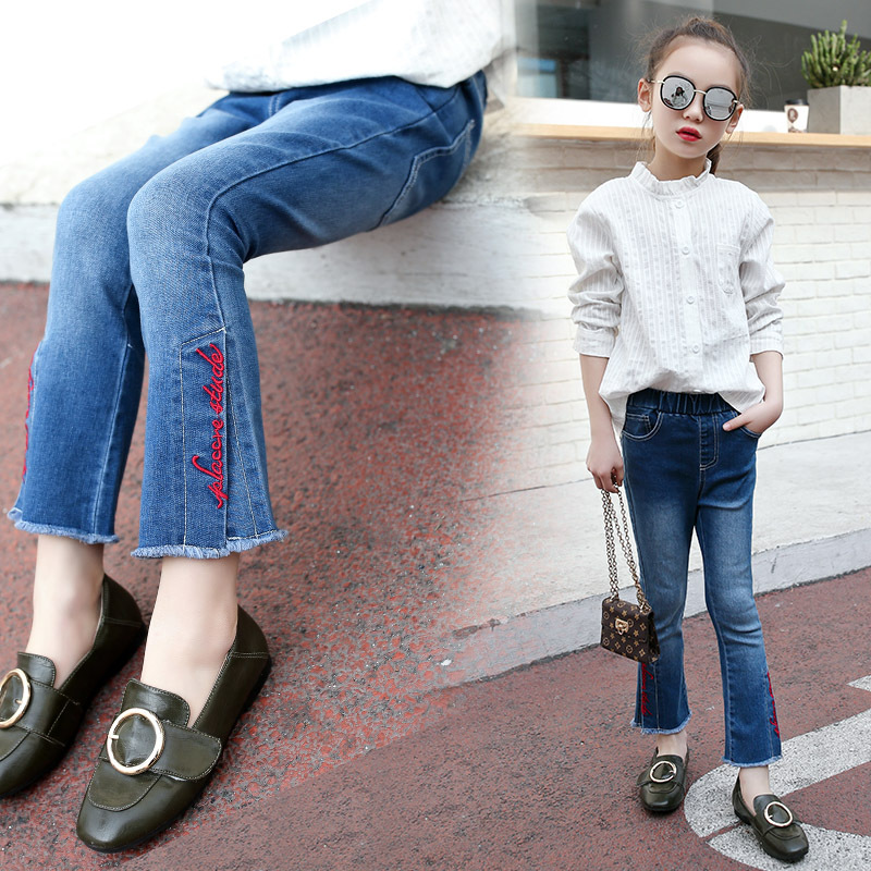 New Girls Fashion Flared Jeans Stretch Kids Pants Casual Pants Mid Waist Pants for Childrens Blue Tassels Flares Trousers TZ05