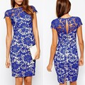 Women 2015 Fashion Blue Lace Dress Floral Short Sleeve Bodycon Midi Dress 25