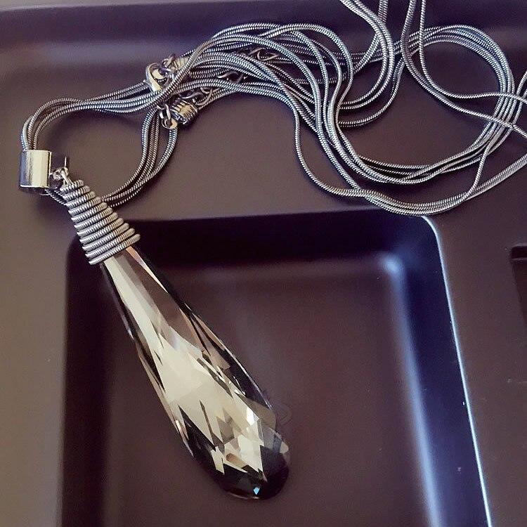 33ab9f780e62 Nueva Joyería de Moda Retro Crystal Chunky Bib Declaración Colgante Gargantilla  Cadena Collar Largo Colar Diseño Simple Gota de Agua