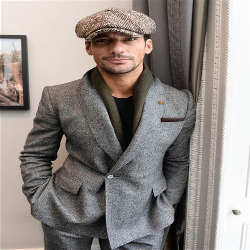 2019 Latest Grey Tweed Men Suits 2 Pieces(Jacket+Pant) Tuxedos Fashion Custome Homme Terno Slim Fit Wedding Party Prom Mens Suit