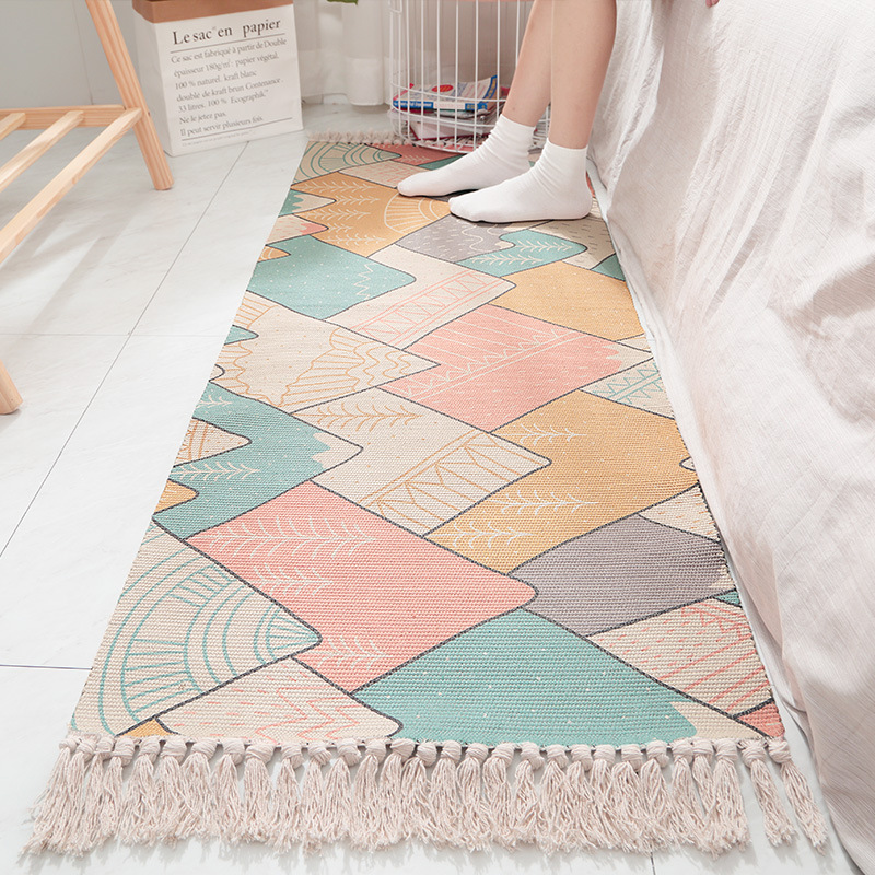 Pure Cotton Woven Bedside Carpet Home Rugs for Bedroom Room Rug Strip Tassel Anti slip Mat