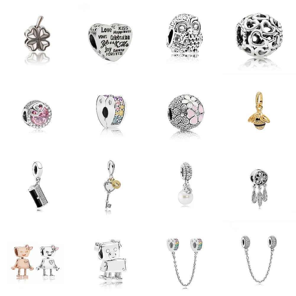 Робот/Сердце/Сова/жемчуг/пчела Кристалл чармы DIY Fit Pandoraa Браслет и ожерелья кулон бусины ювелирные изделия делая женские подарки