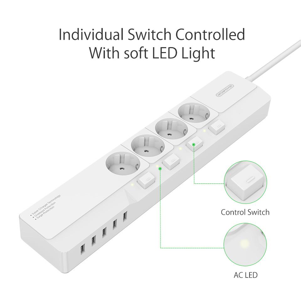 NTONPOWER EU Plug USB Power Socket Surge Protection (4)