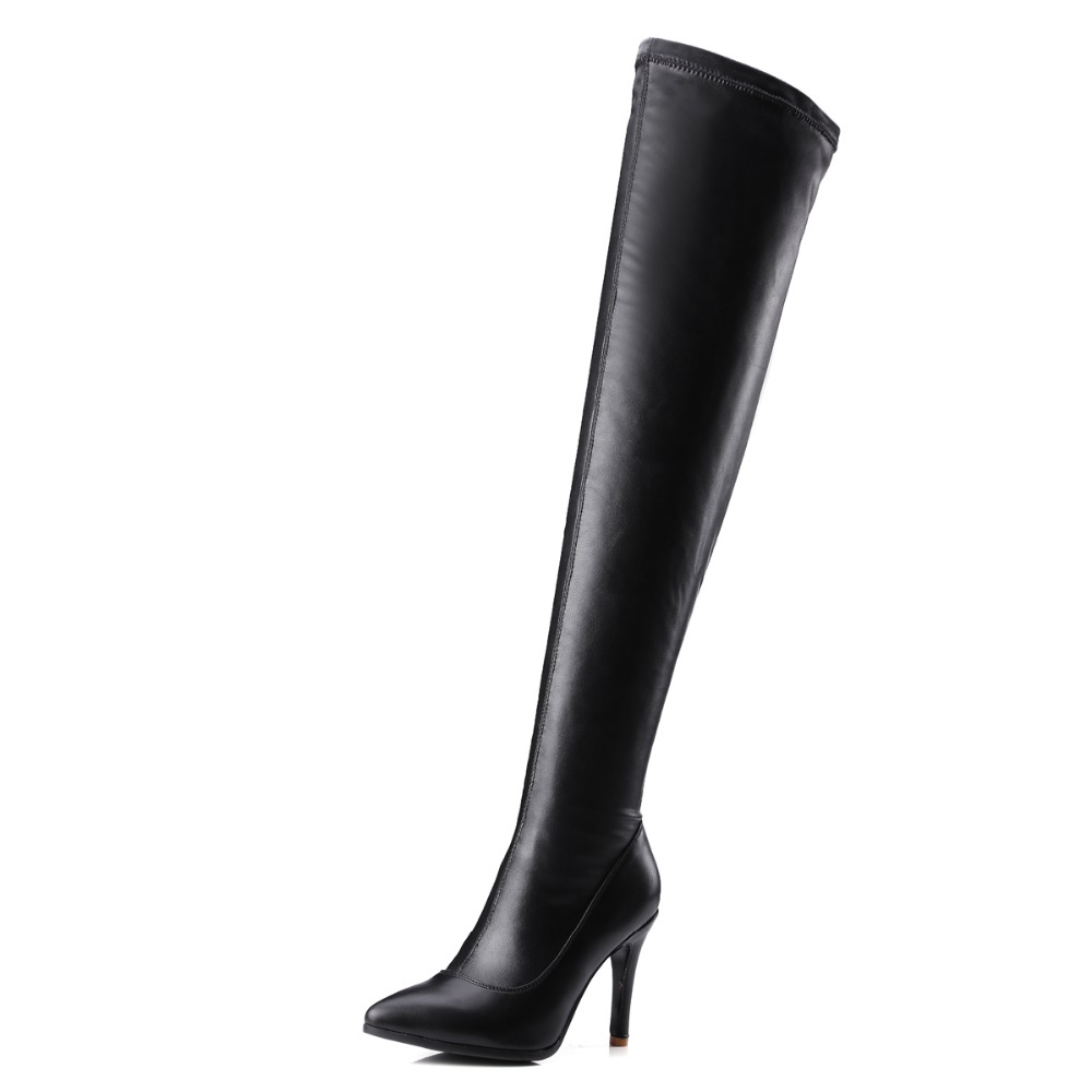 New Sexy Women Over-the-Knee Boots Nice Pointed Toe Thin Heels Boots Fashion Black Shoes Woman US Size 3.5-10.5 customizable fashion women knee high boots sexy pointed toe thin heels leopard boots shoes woman plus size 4 15