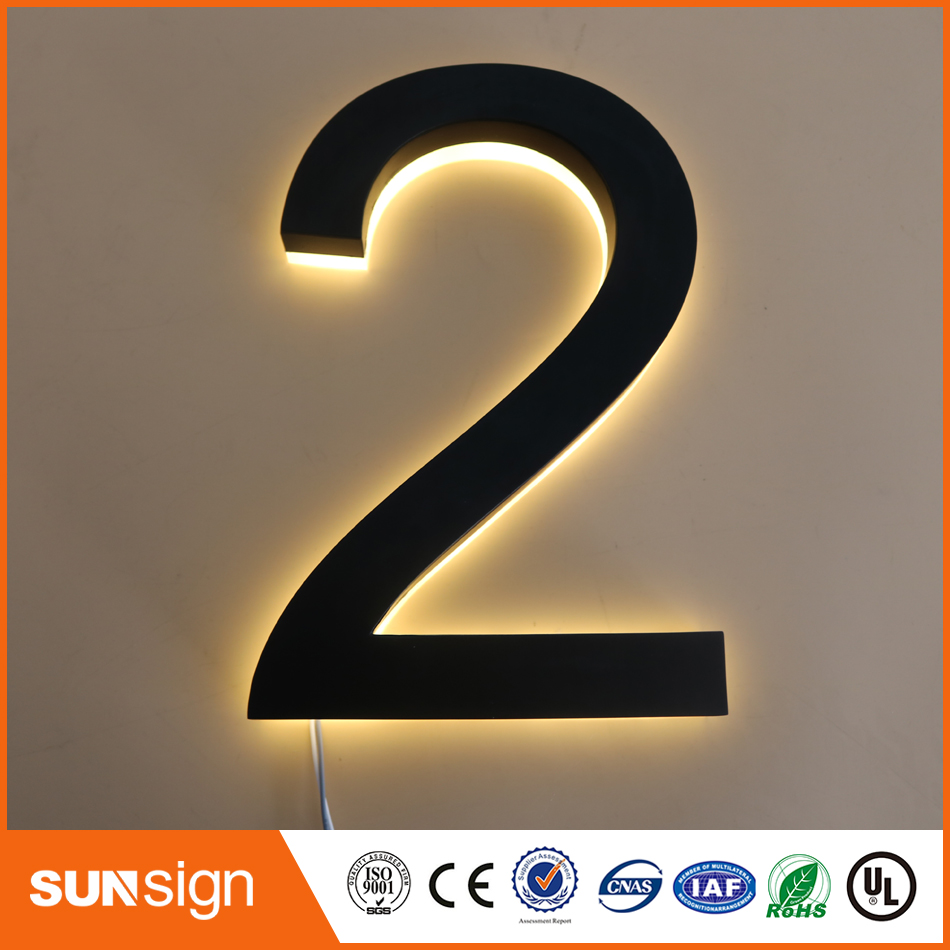 painted stainless steel faces acrylic backs warm white led inside backlit letter numberspainted stainless steel faces acrylic backs warm white led inside backlit letter numbers
