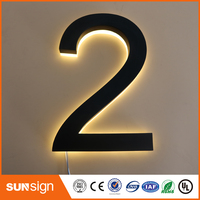 painted stainless steel faces acrylic backs warm white led inside backlit letter numbers
