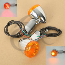 цена на Motorcycle Motorbike Amber Rear LED Turn Signal Lights For Harley XL883 XL1200 Sportster 92-16