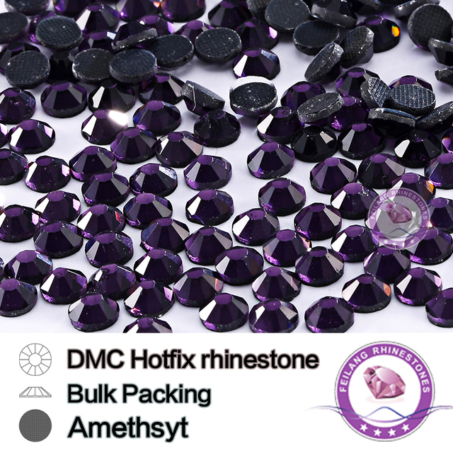 Amethyst SS6 SS10 SS16 SS20 SS30 Bulking Packing DMC Hot Fix Rhinestone For Garments Bags And Shoes