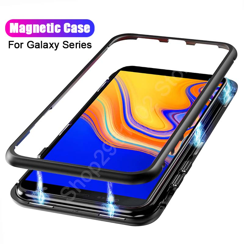 Super Magnetic Mobile Phone Shell for Samsung J6 Case tempered glass back cover for Samsung Galaxy J6 2018 J600f adsorption flip