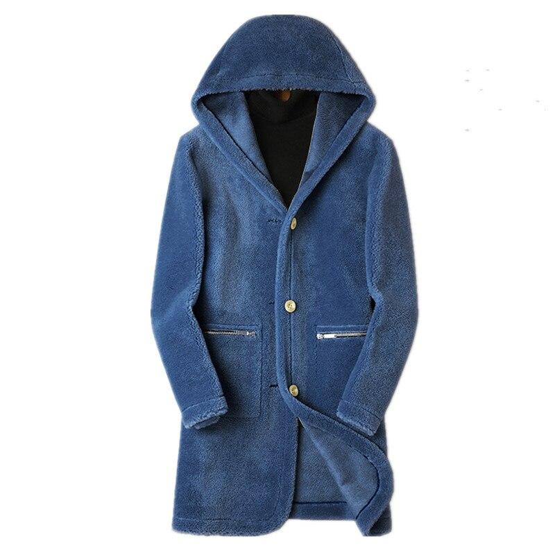 Пальто из натуральной шерсти, мужская зимняя куртка, длинные пальто из натуральной овечьей шерсти, Двусторонняя одежда, замшевая кожаная ку