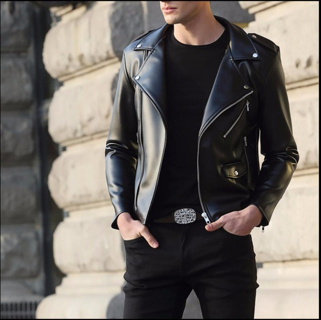 Autumn and winter leather clothing men's outerwear slim PU leather motorcycle jacket casual coat hairstylist nightclub costumes