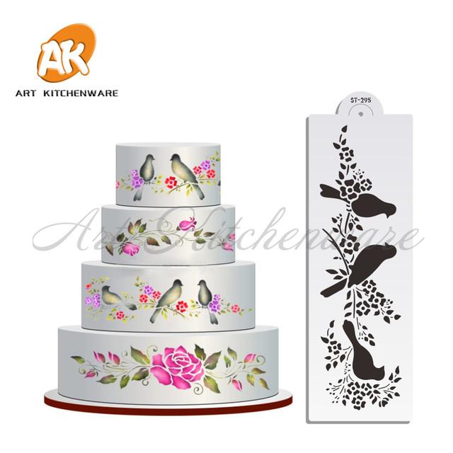 Whole Wedding Cake Stencil Lovely Birds Kitchen Accessories Fondant Decorating Tools Molds Bakeware Template