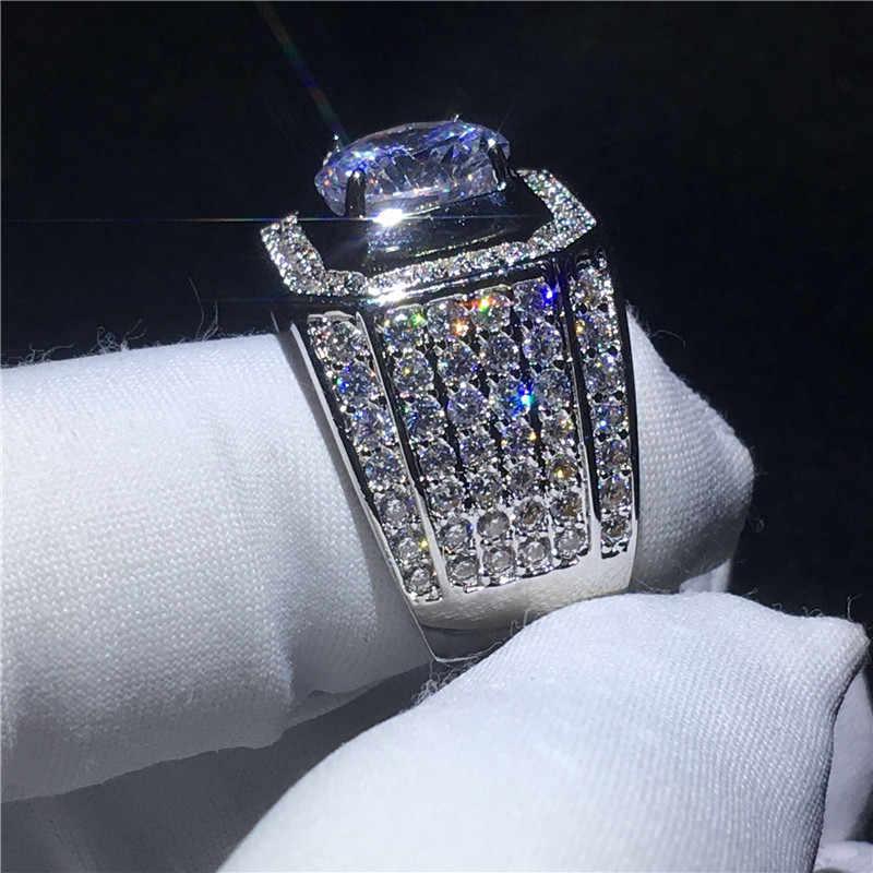 Solitaire แหวน 925 เงิน 3ct 5A zircon แหวนหมั้นแหวนผู้ชายเครื่องประดับ