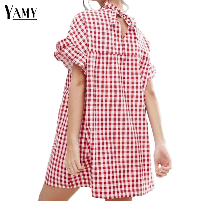 f920e71129 2017 Summer Dress Women White Red Plaid Dress Vintage Butterfly Sleeve Back  Bow Tie Cute Mini