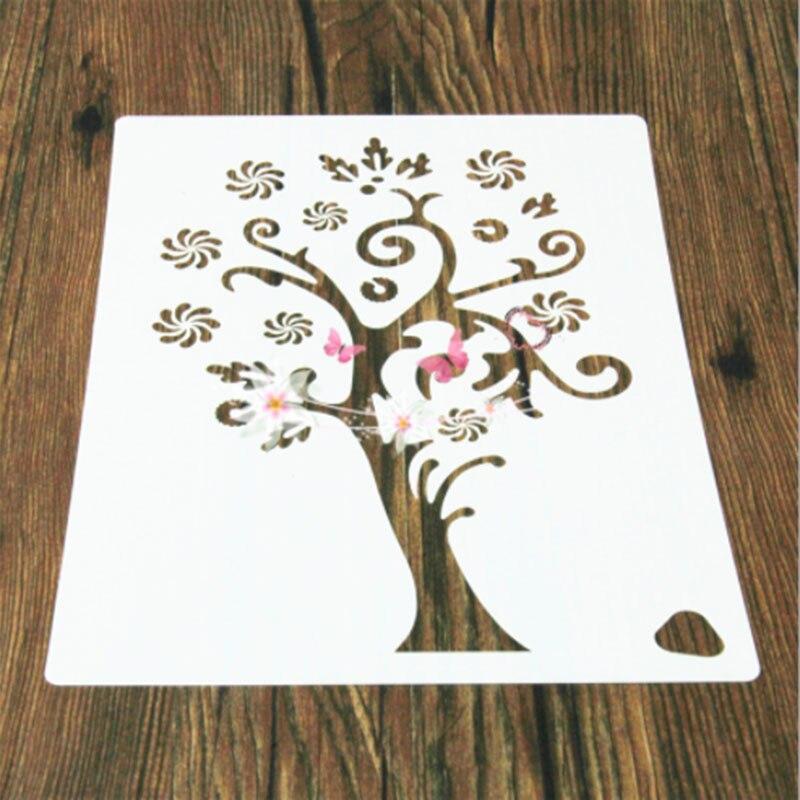 1PC Christmas Snowflake Tree Flower Reusable Stencil Airbrush Painting Art DIY Home Decor Scrap Booking Album Crafts