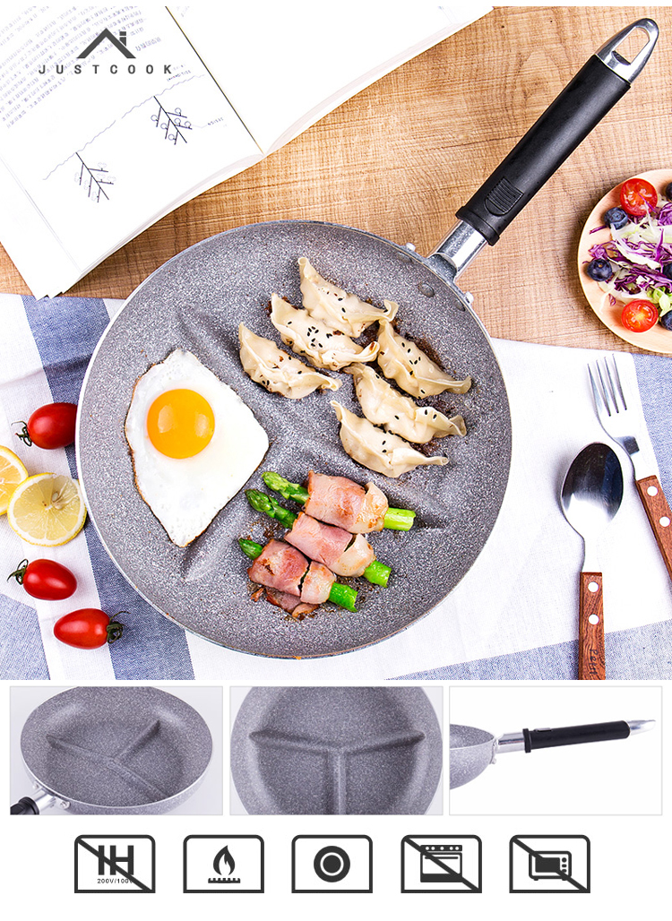 26 CM Breakfast Frying Pan Non-Stick 3 in 1 Frying Pans No Oil-smoke Gas Cooker For Fried Eggs Bacon Sausage