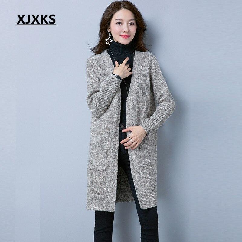 XJXKS sueter mujer invierno 2018 femmes cardigan long chandail manteau m-xxl extensible avec poches femmes chandails long manteau tricoté