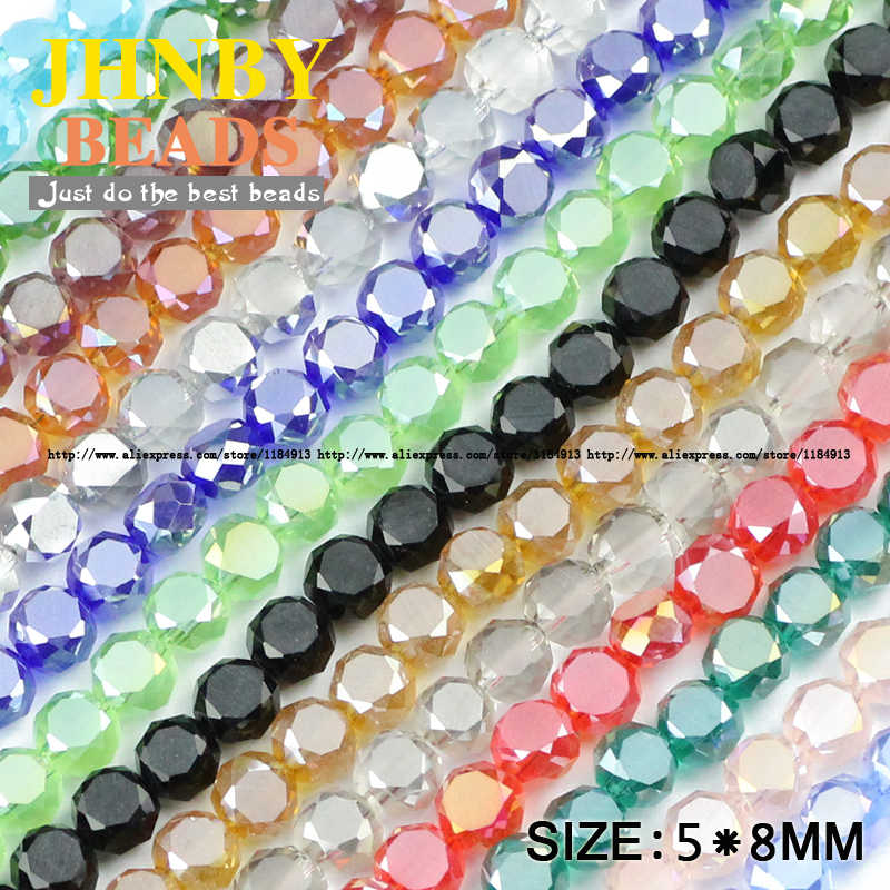 JHNBY Bread shape Austrian crystal beads 50pcs High quality 5*8mm Matte glass Flat Round Loose beads for jewelry making bracelet
