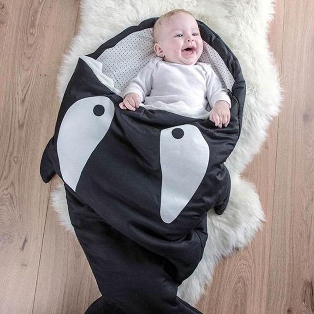 Winter Strollers Bed Swaddle Blanket Wrap cute Bedding baby Sleepsacks Cartoon shark sleeping bag Newborns sleeping bag  SYSD