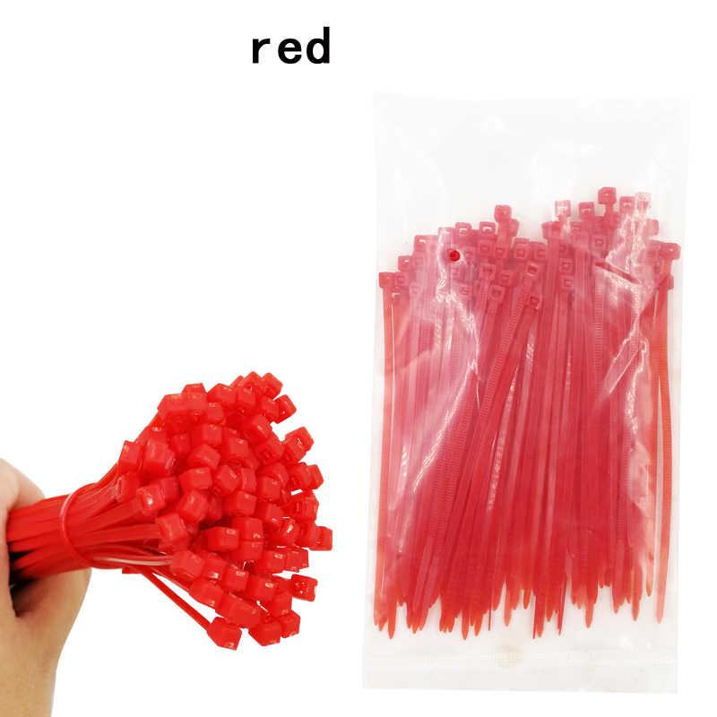 100 adet/paket kendinden kilitleme naylon kablo bağları 3*100mm 6 renk plastik zip kravat siyah tel bağlama wrap sapanlar ilk toplu naylon