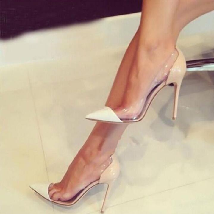 Clear PVC Jelly High Heels Shoes 12cm Women Shallow Pumps Office Pointed Toe Patchwork Stiletto Heels Women Formal Shoes