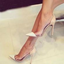 Clear PVC Jelly High Heels Shoes 12cm Women Shallow Pumps Of