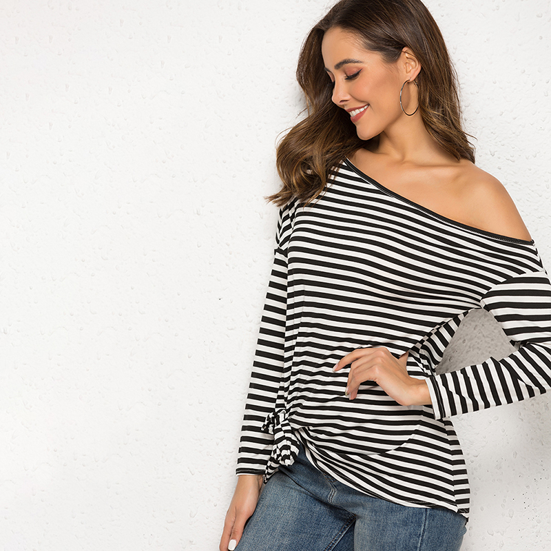 Black Striped T Shirt Women Long Sleeve Off Shoulder Casual Loose Striped T-Shirts Female Jumper Pullover Shirts