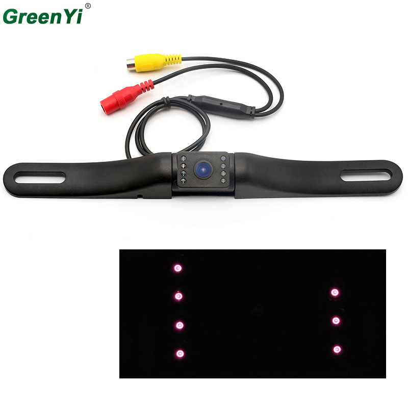 GreenYi 2017 Auto Parking System License <font><b>Plate</b></font> <font><b>Car</b></font> Reversing Cam Back Up Parking IR LEDS infrared Night Vision Rear View Camera
