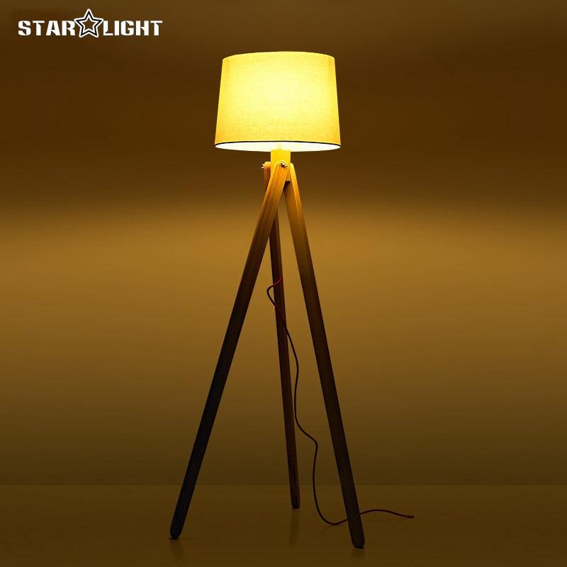 Wooden Floor Lamp Industrial Lighting Fixtures For Home Decoration