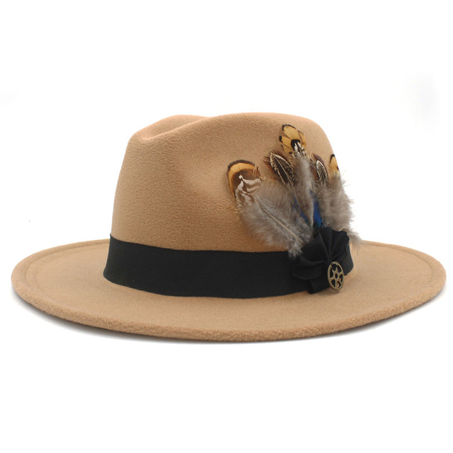 dd8f29c6645b3 100% Wool Women Men Wide Brim Winter Felt Trilby Fedora Hat With Feather  Band Cashmere