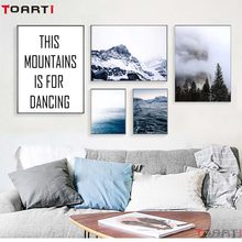Nordic Landscape Poster&Print Vast Sea Mountain Seascape Canvas Painting On The Wall Living Room Home Decor Modular Art Picture(China)