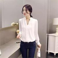 roupa feminina haut femme ropa shirt koszula damska women spring autumn skinny korean v neck pullover chiffon long sleeve blouse